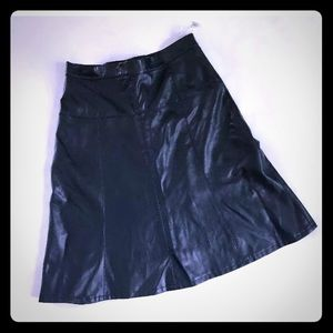 Dennis Basso Blue Faux Leather Skirt Size 4 NWOT